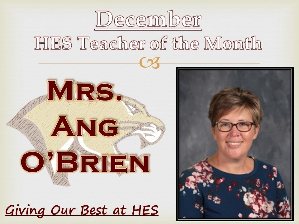 HES December teacher of the month